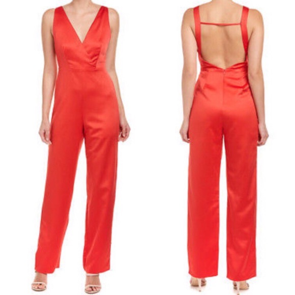 5f440c2374e Honey Punch Pants - Honey Punch Red Satin Jumpsuit M